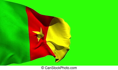 Large cameroon national flag blowing on green screen...