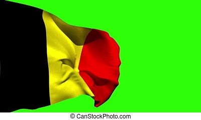 Large belgium national flag blowing on green screen...