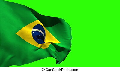 Large brazil national flag blowing on green screen...
