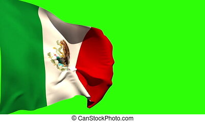 Large mexico national flag blowing on green screen...