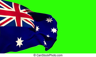 Large australia national flag blowing on green screen...