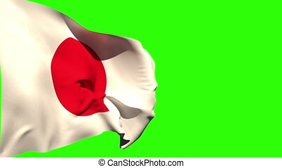 Large japan national flag blowing on green screen background