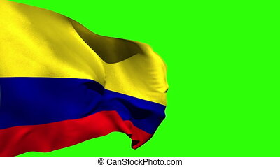 Large colombia national flag blowing on green screen...