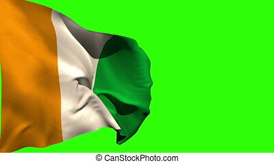 Large ivory coast national flag blowing on green screen...