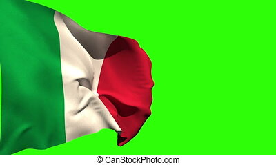 Large italy national flag blowing on green screen background