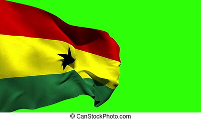 Large ghana national flag blowing on green screen background