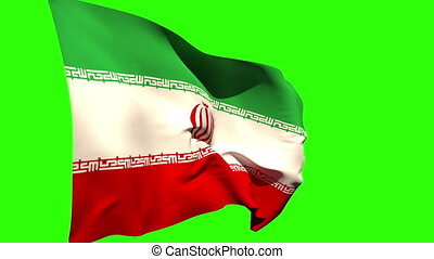 Large iran national flag blowing on green screen background