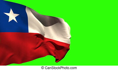 Large chile national flag blowing on green screen background