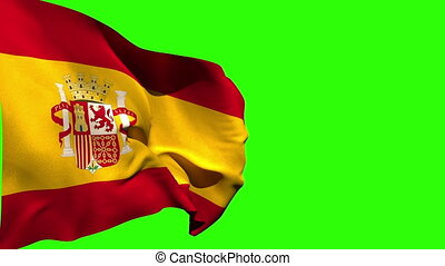 Large spain national flag blowing on green screen background