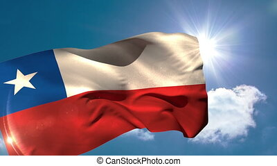 Chile national flag blowing in the breeze on blue sky...