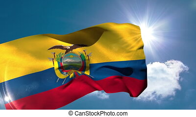 Ecuador national flag blowing in the breeze on blue sky...