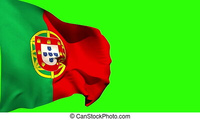 Large portugal national flag blowing on green screen...