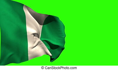 Large nigeria national flag blowing on green screen...