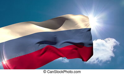 Russia national flag blowing in the
