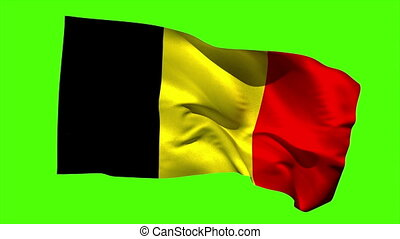 Belgium national flag blowing in the breeze on green screen...