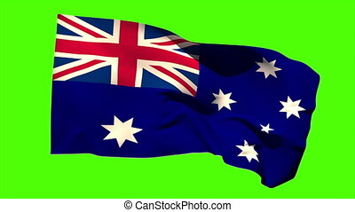 Australia national flag blowing in the breeze on green...