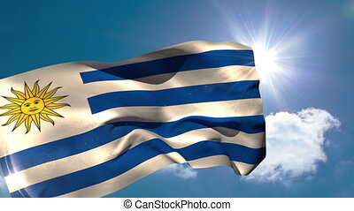 Uruguay national flag blowing in the breeze on blue sky...