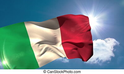 Italy national flag blowing in the breeze on blue sky...