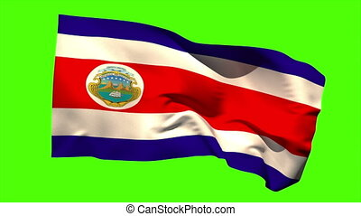 Costa rica national flag blowing in the breeze on green...