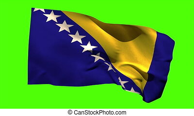 Bosnia national flag blowing in the breeze on green screen...