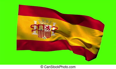 Spain national flag blowing in the breeze on green screen...