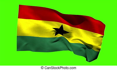 Ghana national flag blowing in the breeze on green screen...