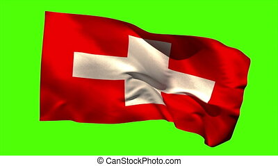 Swiss national flag blowing in the wind - Swiss national...