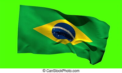 Brazil national flag blowing in the breeze on green screen...