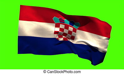 Croatia national flag blowing in the wind - Croatia national...