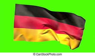 German national flag blowing in the breeze on green screen...