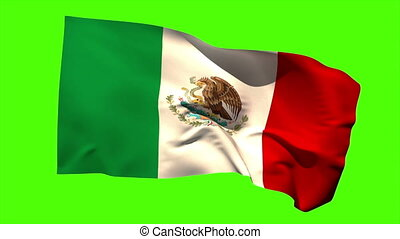 Mexico national flag blowing in the breeze on green screen...