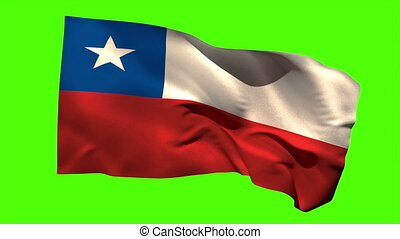 Chile national flag blowing in the wind