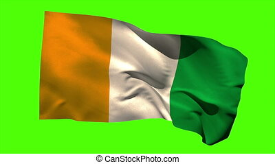 Ivory coast national flag blowing in the wind - Ivory coast...
