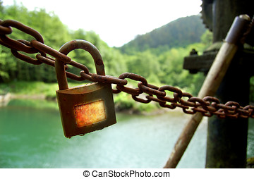 Corroded lock in Dam. - Corroded lock of Dam in a lake.