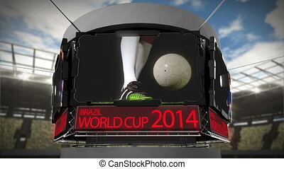 World cup 2014 animation on large screen in stadium