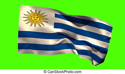 Uruguay national flag blowing in the wind - Uruguay national...