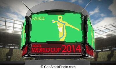 World cup 2014 animation on large screen in stadium - World...