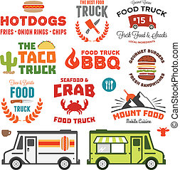 Food truck graphics - Set of food truck graphics and truck...