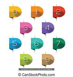Number in Bookmark Label long shadow Flat Icons Set - Label...