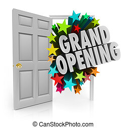 Grand Opening Words Stars Open Door Big Sale Invitation -...