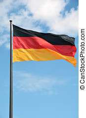 Flag of the Federal Republic of Germany on a flag pole