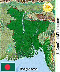 Bangladesh map flag coat - aerial view of Bangladesh map...