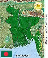 Bangladesh map flag coat - aerial view of Bangladesh map...