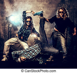 life with dance - Group of modern dancers over grunge...