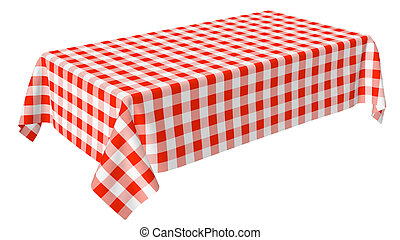 Rectangular tablecloth with red checkered pattern isolated...