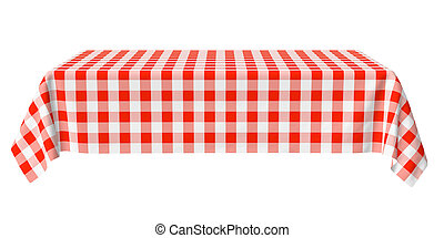 Rectangular horizontal tablecloth with red checkered pattern