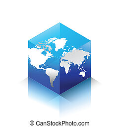 Cubic World Icon - Isometric bubic world and map surface