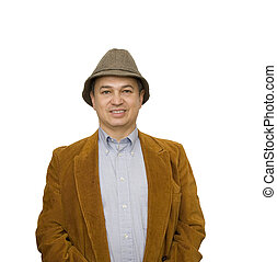 Man in Jacket and Hat Smiling