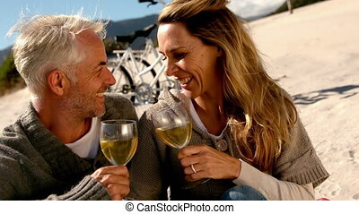 Happy couple drinking white wine on the beach in slow motion