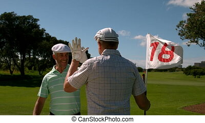 Golfers high fiving on the eighteen hole - Golfers high...